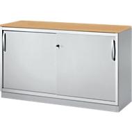 Schuifdeurkast TETRIS SOLID, 2 ordnerhoogten, B 1200 x H 818 mm, middenwand, 19 mm afdekplaat, beuken/blank aluminium