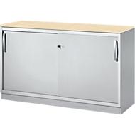 Schuifdeurkast TETRIS SOLID, 2 ordnerhoogten, B 1200 x H 818 mm, middenwand, 19 mm afdekplaat, esdoorn/blank aluminium