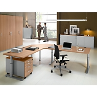Schuifdeurkast TETRIS SOLID, 2 ordnerhoogten, middenwand, B 1600 x D 413 x H 818 mm, lichtgrijs/blank aluminium