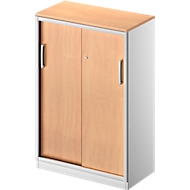 Schuifdeurkast TETRIS SOLID, 3 ordnerhoogten,  2 legborden, B 800 mm, 19 mm afdekplaat, beukenpatroon/blank aluminium