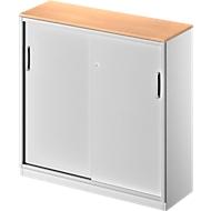 Schuifdeurkast TETRIS SOLID, 3 ordnerhoogten, B 1200 x H 1170 mm, middenwand, 19 mm afdekplaat, beuken/blank aluminium