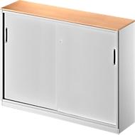 Schuifdeurkast TETRIS SOLID, 3 ordnerhoogten, middenwand, B 1600 x D 413 x H 1170 mm, beuken/blank aluminium