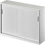 Schuifdeurkast TETRIS SOLID, 3 ordnerhoogten, middenwand, B 1600 x D 413 x H 1170 mm, lichtgrijs/blank aluminium