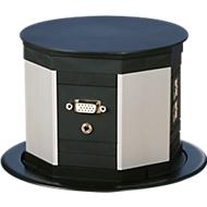 Schutzkontakteckdose Lift, 4-er Leiste, 3 m lange Gerätezuleitung, Kunststoff, schwarz
