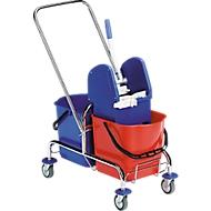 Seau à roulettes double-bac Chrome II, 2 x seau 15 litres, roulant, av. presse à essorer et poignée de poussée