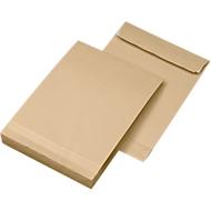 Seitenfaltentaschen, 40 mm, haftklebend, DIN C4, 130 g/qm, 100 Stück, natronbraun