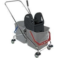Set : chariot de ménage à roulettes 2 seaux de 27 litres, avec manche alu télescopique, porte-franges pliable en plastique et 5 serpillères en coton 500 mm