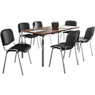 Set ISO SWING BASIC: 6 stoelen kunstleder, onderstel chroom + vergadertafel 1600 x 800 mm,  notenhoutdecor