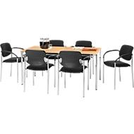 Set Konferenztisch B 1600 x T 800 mm + 6 stapelbare Besucherstühle Styl mit Armlehnen & Stoffbezug, Konferenztisch Buche-Dek.