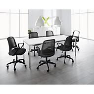 SET Konferenztisch weiß + 6 Konferenzstühle schwarz