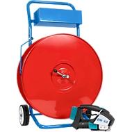 Set PET, appareil de cerclage avec batterie et chariot à dévidoir, 13 mm