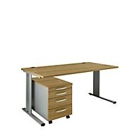 Set PLANOVA BASIC: bureau B 1600 mm + verrijdbare ladeblok 1233, kersen Romana-decor/blank alu