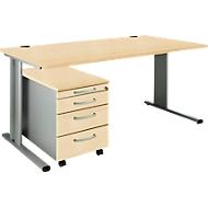 SET PLANOVA BASIC, Schreibtisch+ Rollcontainer, Ahorn-Dekor/weißalu
