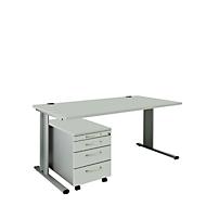 SET PLANOVA BASIC, Schreibtisch+ Rollcontainer, lichtgrau/weißalu