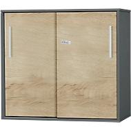 SET UP aanbouw-/opzetschuifdeurkast, 2 OH, B 800 x D 420 x H 726 mm, grafiet/eikendecor