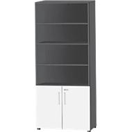 SET UP combi-boekenkast, 6 OH, B 800 x D 420 x H 2196 mm, grafiet/wit