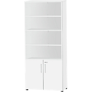 SET UP combi-boekenkast, 6 OH, B 800 x D 420 x H 2196 mm, wit/wit