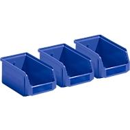 Set van 3 magazijnbakken LF 211, kunststof, 0,9 liter