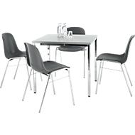 Set van 4 stoelen BETA, antraciet + 1 tafel 800 x 800 mm, lichtgrijs