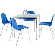 Set van 4 stoelen BETA, blauw + 1 tafel 800 x 800 mm, lichtgrijs