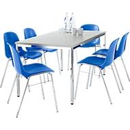 Set van 6 stoelen BETA, blauw + 1 tafel 1600 x 800 mm, lichtgrijs