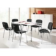 Set van 6 stoelen ISO BASIC, antraciet stof + 1 tafel 1600 x 800 mm, wit