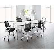 SET vergadertafel wit + 6 vergaderstoelen wit