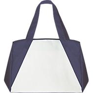 Shopper BIG-ONE, Non-Woven Vliesgewebe, lange Schultergurte, mit Boden- & Seitenfalte, weiß/dunkelblau