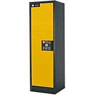Sicherheitsschrank Typ 90 asecos, B 600 mm, Tür links, 3 Böden, sicherheitsgelb