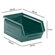 Sichtlagerkasten 14/7-5, Stahl, 0,9 l, graublau lackiert