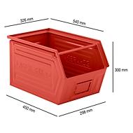 Sichtlagerkasten mit Tragestab SSI Schäfer LF 14/7-2Z, Stahl, L 540 x B 326 x H 300 mm, 41 l, rot
