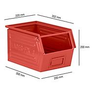 Sichtlagerkasten mit Tragestab SSI Schäfer LF 14/7-3, Stahl, L 352 x B 220 x H 200 mm, 11,5 l, rot