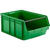 Sichtlagerkasten mit Tragestab SSI Schäfer LF 14/7, Polypropylen, L 715 x B 470 x H 300 mm, 74 l, grün