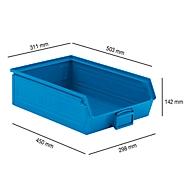 Sichtlagerkasten SSI Schäfer LF 14/7-2H, Stahl, L 503 x B 311 x H 142 mm, 17 l, blau