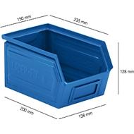 Sichtlagerkasten SSI Schäfer LF 14/7-4, Stahl, L 235 x B 150 x H 130 mm, 3,5 l, blau