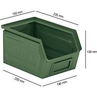 Sichtlagerkasten SSI Schäfer LF 14/7-4, Stahl, L 235 x B 150 x H 130 mm, 3,5 l, grün