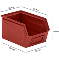 Sichtlagerkasten SSI Schäfer LF 14/7-4, Stahl, L 235 x B 150 x H 130 mm, 3,5 l, rot