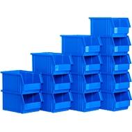 Sichtlagerkasten SSI Schäfer TF 14/7-3Z, Polypropylen, L 343 x B 209 x H 145 mm, 7,5 l, blau, 14 Stück