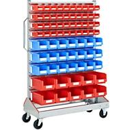 Sichtrollwagen f. Sichtlagerkästen, einseitig, B 1130 x T 510 x H 1705 mm, 40 x 0,7 l rot, 21 x 3 l blau, 10 x 7,5 l rot