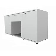 Sideboard, 2 deuren + schuiflade, afsluitbaar, spaanplaat, B 1500 x D 420 x H 663 mm, lichtgrijs