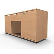 Sideboard, 2 Türen + Schub, abschließbar, Spanplatte, B 1500 x T 420 x H 663 mm, Buche