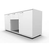 Sideboard, 2 Türen + Schub, abschließbar, Spanplatte, B 1500 x T 420 x H 663 mm, weiß