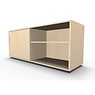 Sideboard, met schuifdeur, afsluitbaar, spaanplaat, B 1600 x D 500 x H 663 mm, links monteerbaar, esdoorn