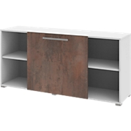 Sideboard met verschuifbare voorkant TEQSTYLE, B 1600 mm, oxido/wit