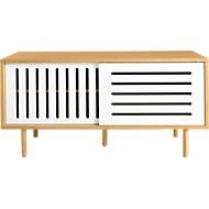 Sideboard Stripe, Eichenholzfurnier, Schiebetüren weiß, m. Holzfüßen, B 1350 x T 450 x H 650 mm