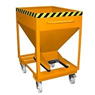 Silocontainer type SRE-D 375, met insteekgaten voor hefwagen en wielen, gelakt, oranje