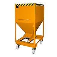 Silocontainer type SRE-D 600, met insteekgaten voor hefwagen en wielen, gelakt, oranje