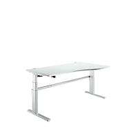 Sitz-/Steharbeitsplatz Komfort, Ansatz rechts, B 1800 mm, lichtgrau/weißalu