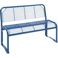Sitzbank, 2-Sitzer, mit Gitternetz, für Außenbereich, violettblau (RAL 5000)