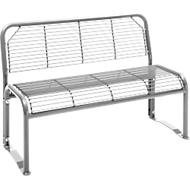 Sitzbank, 2-Sitzer, mit Gitternetz, für Außenbereich, weißaluminium (RAL 9006)
